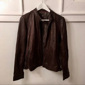 Brown Genuine Leather Jacket - Banana Republic
